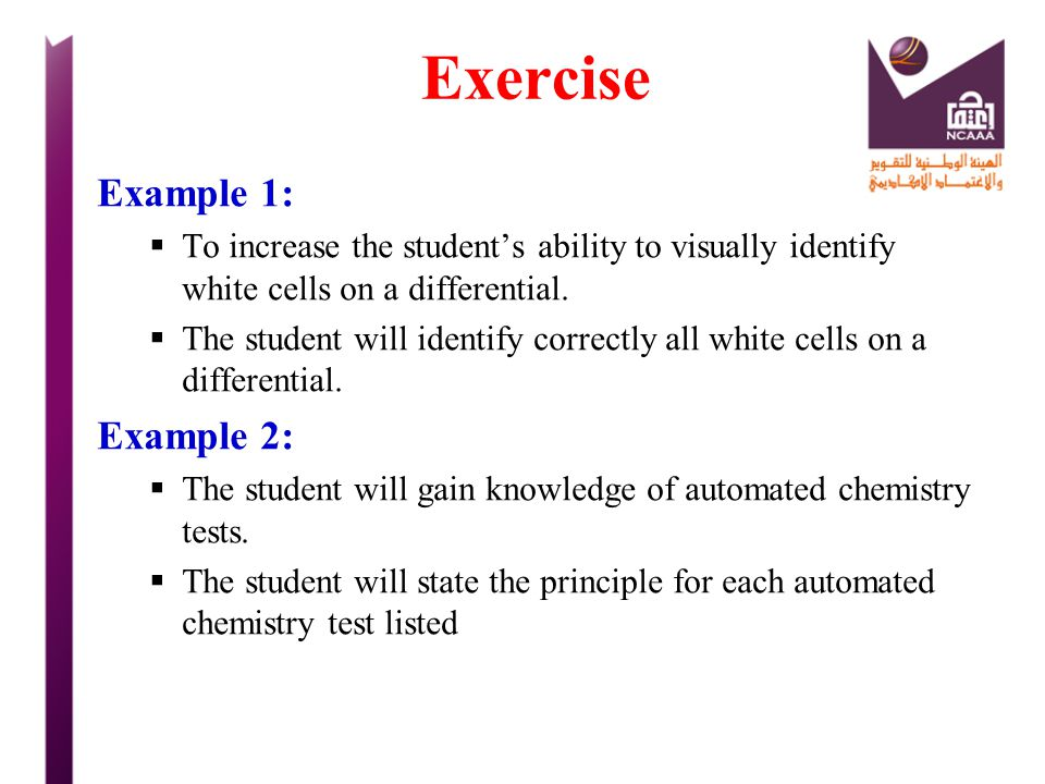 Exercise Example 1: Example 2: