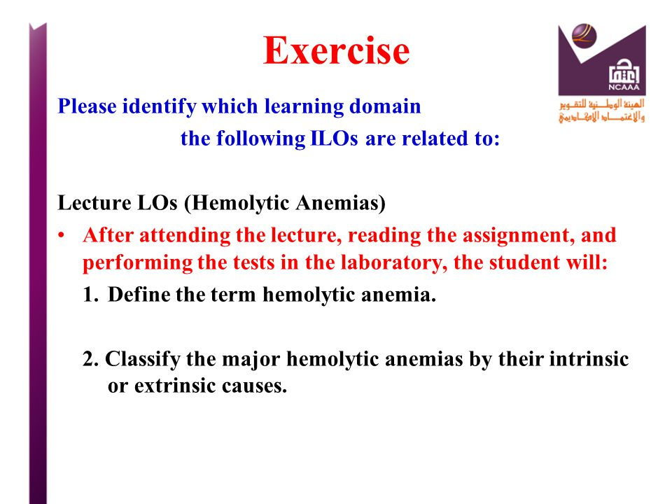 Exercise Please identify which learning domain