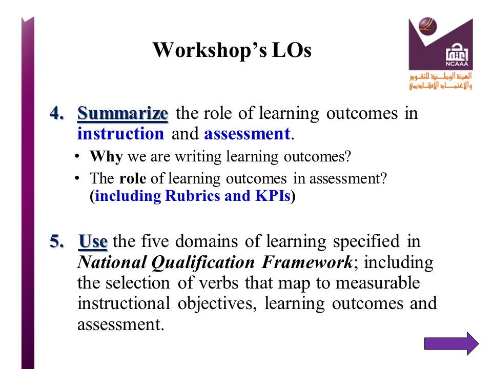Workshop's LOs Summarize the role of learning outcomes in instruction and assessment. Why we are writing learning outcomes