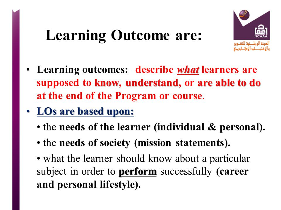 Learning Outcome are:
