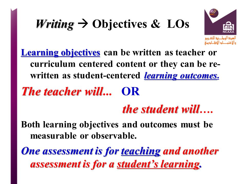 Writing  Objectives & LOs