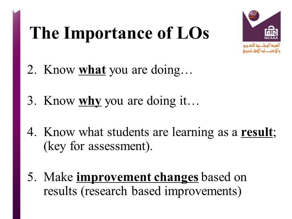 The Importance of LOs Know what you are doing…