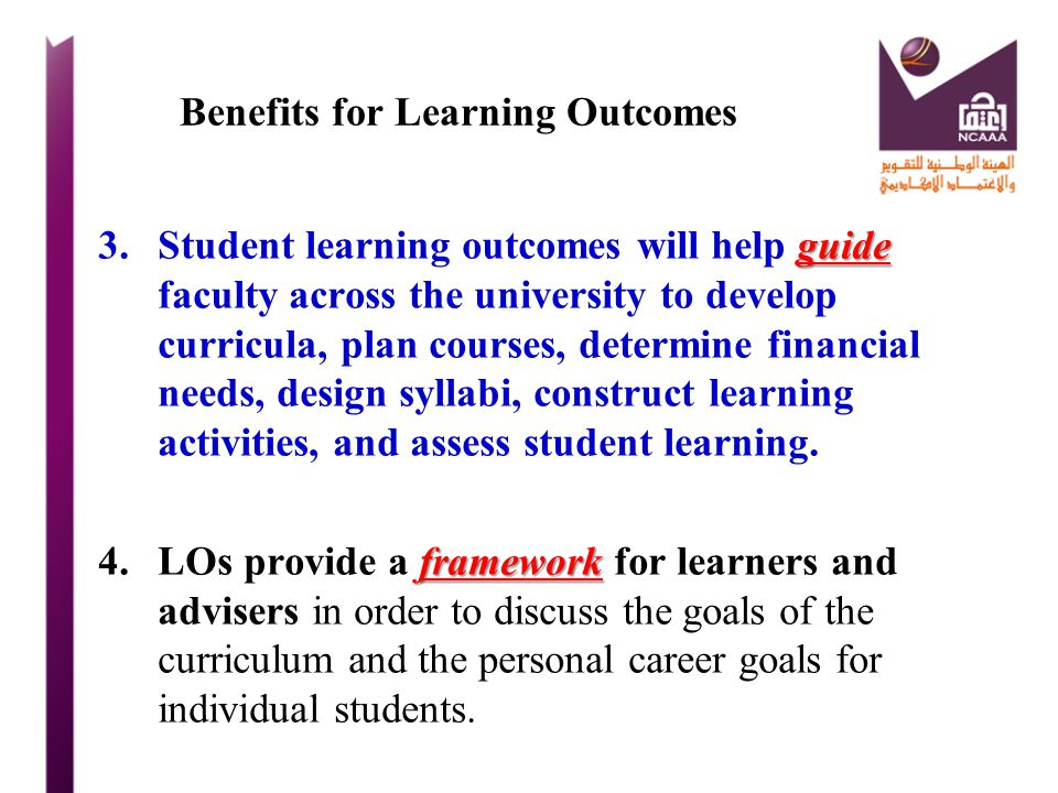 Benefits for Learning Outcomes