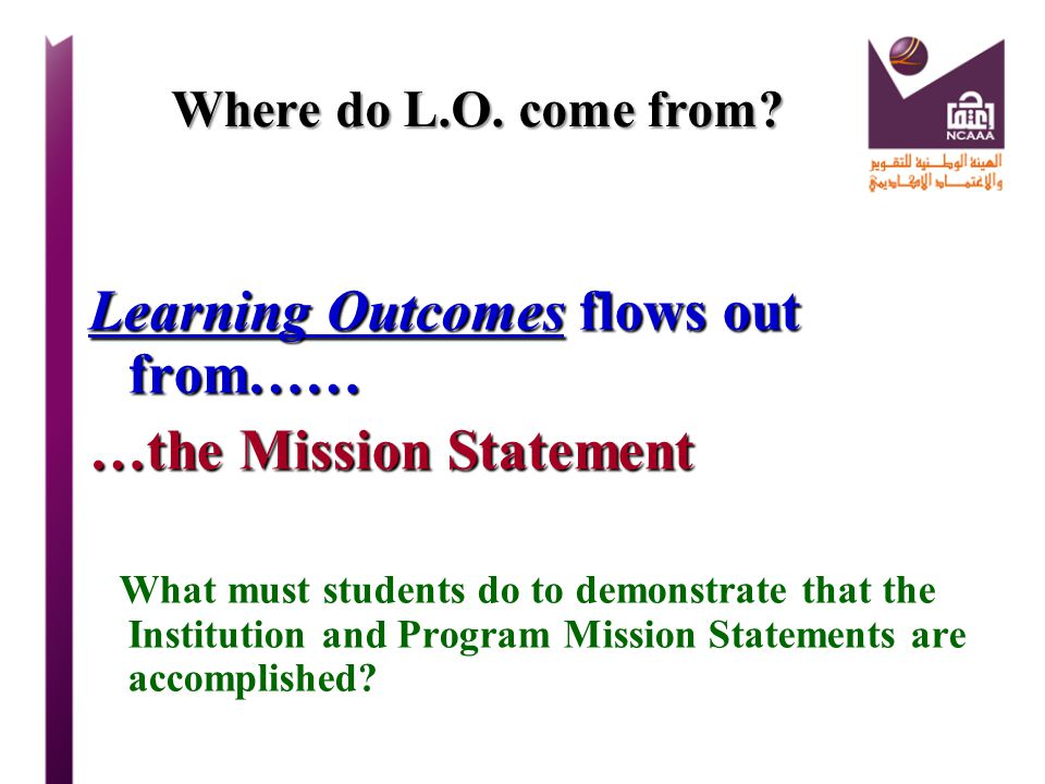 Learning Outcomes flows out from…… …the Mission Statement