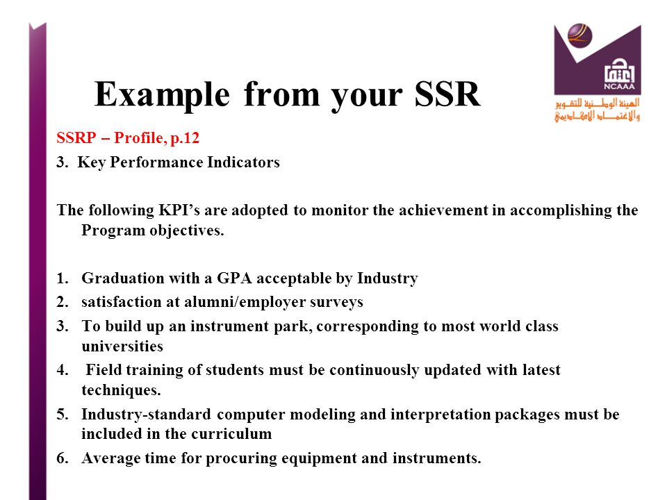 Example from your SSR SSRP – Profile, p.12