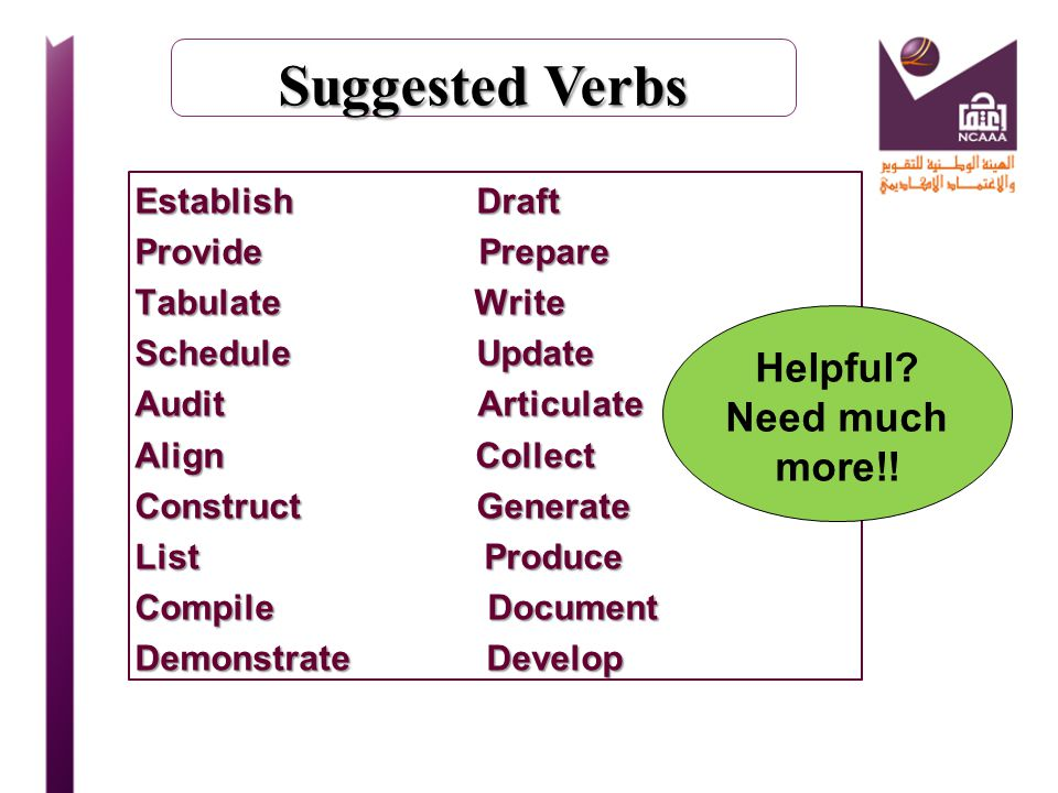Suggested Verbs Helpful Need much more!!