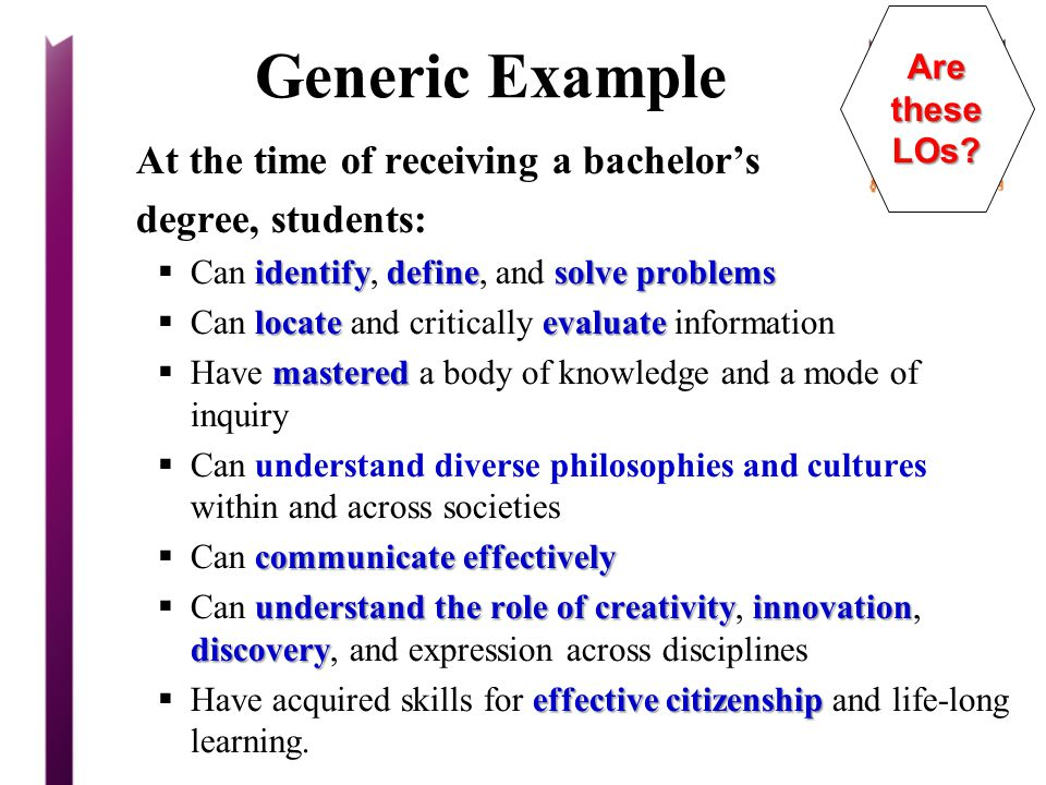 Generic Example At the time of receiving a bachelor's