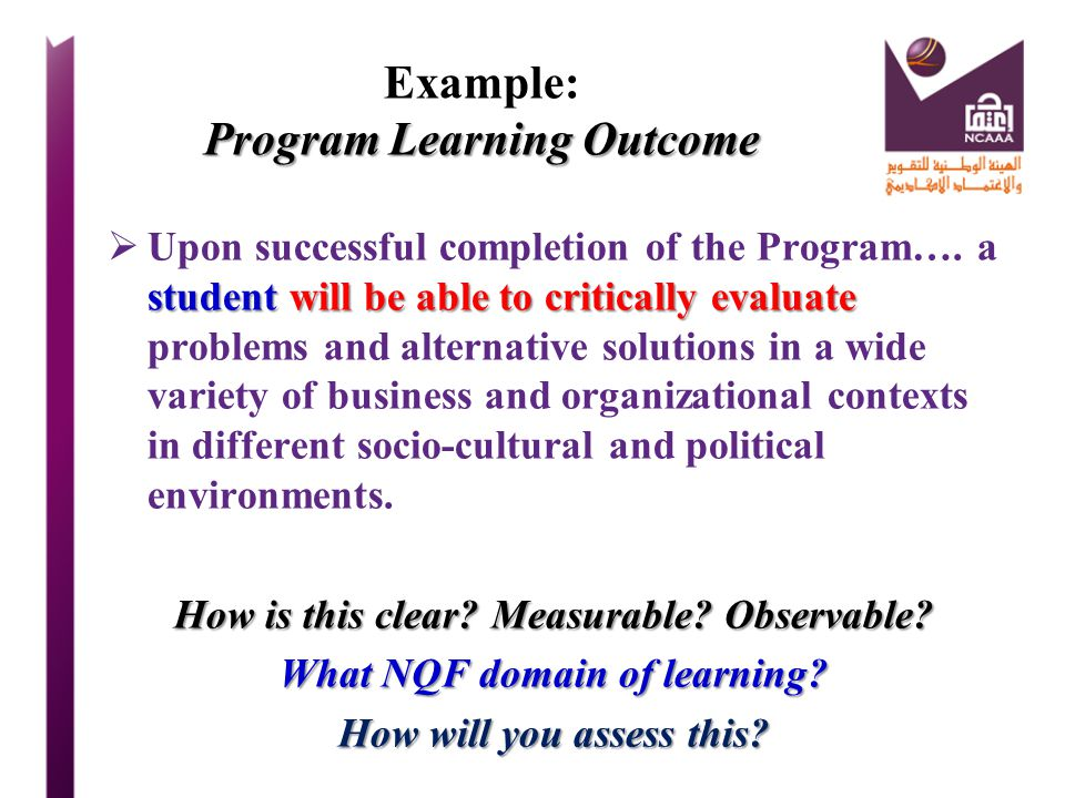Example: Program Learning Outcome