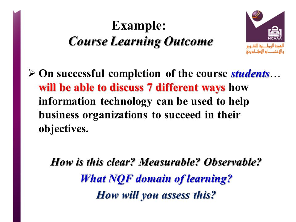 Example: Course Learning Outcome