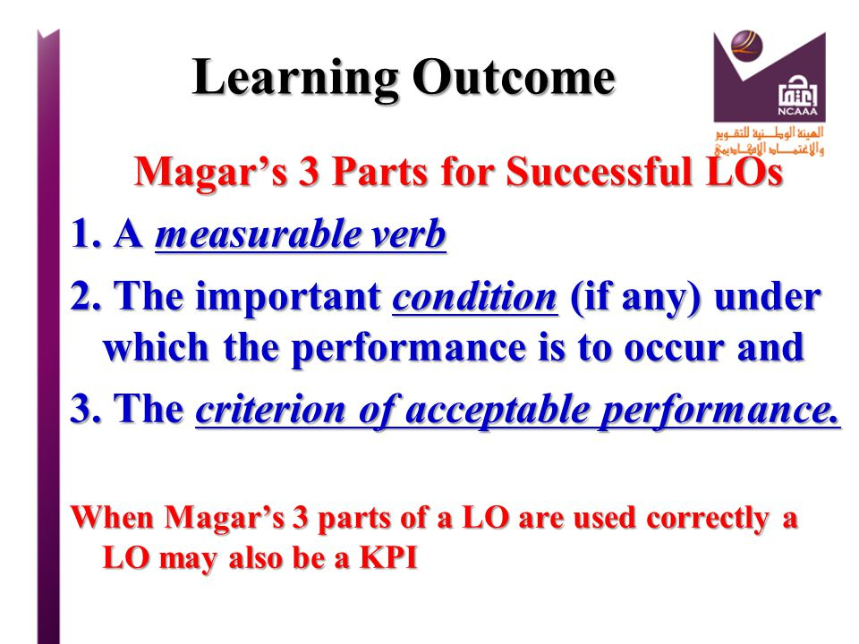 Magar's 3 Parts for Successful LOs