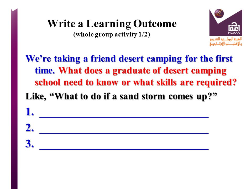 Write a Learning Outcome (whole group activity 1/2)