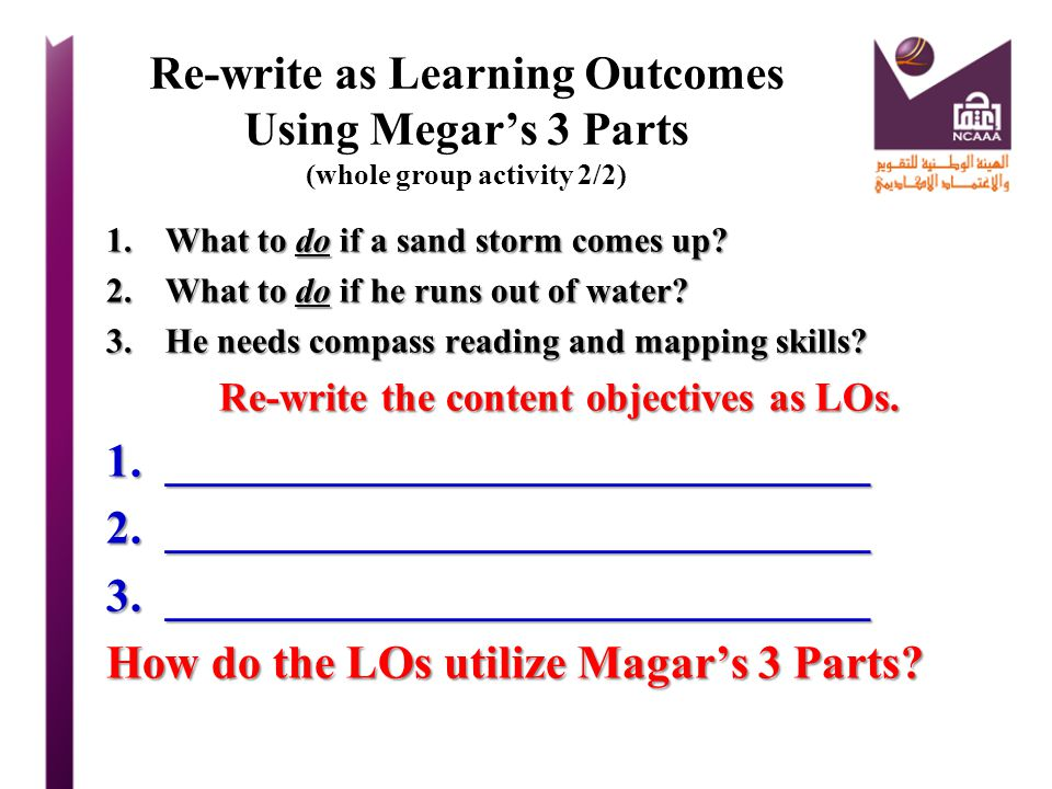 Re-write the content objectives as LOs.