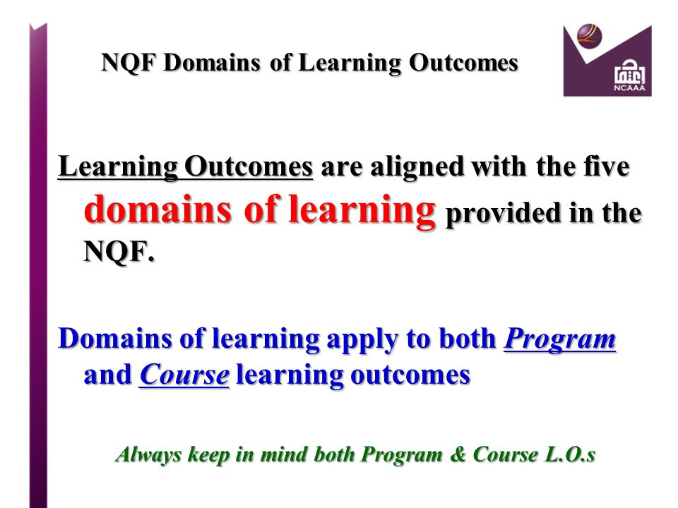 NQF Domains of Learning Outcomes