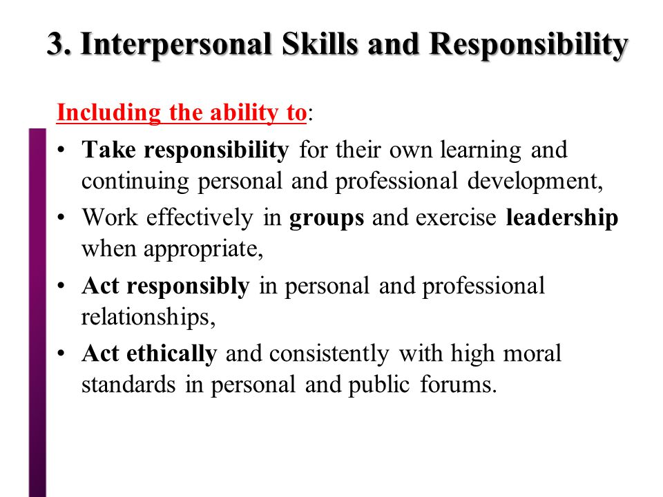 3. Interpersonal Skills and Responsibility
