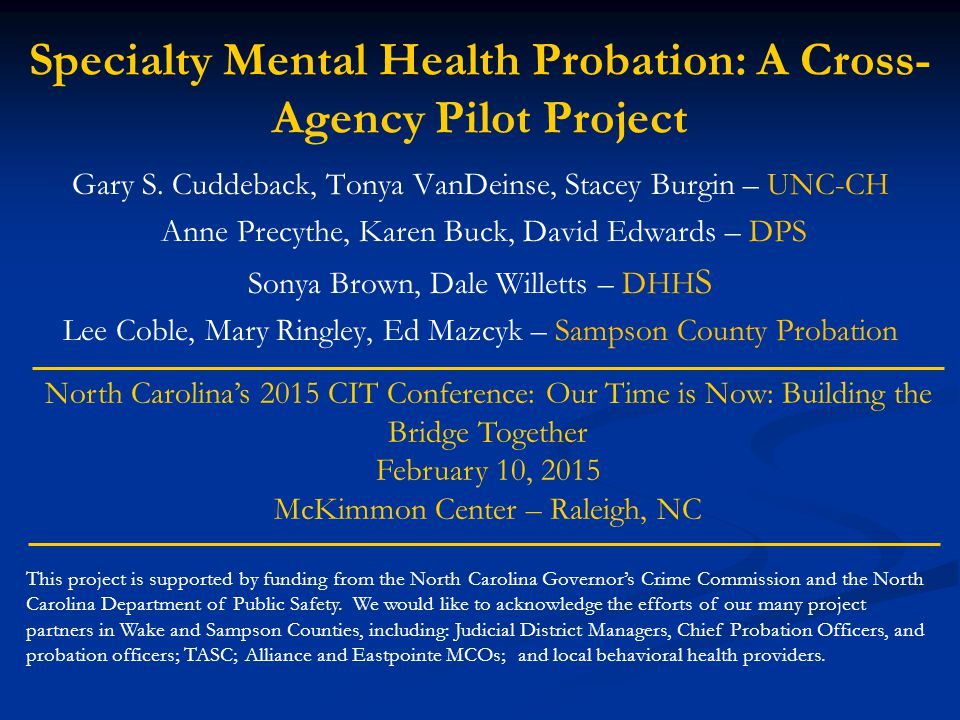 Specialty Mental Health Probation: A Cross-Agency Pilot Project
