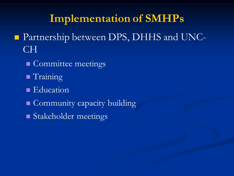 Implementation of SMHPs