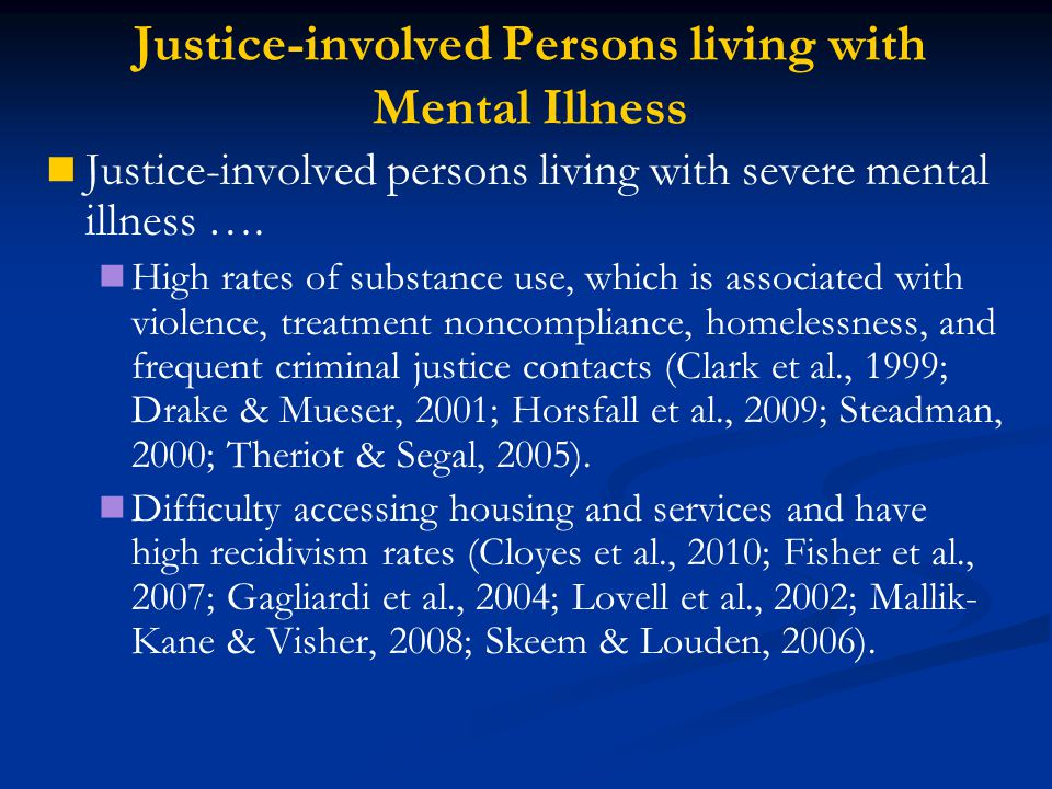 Justice-involved Persons living with Mental Illness