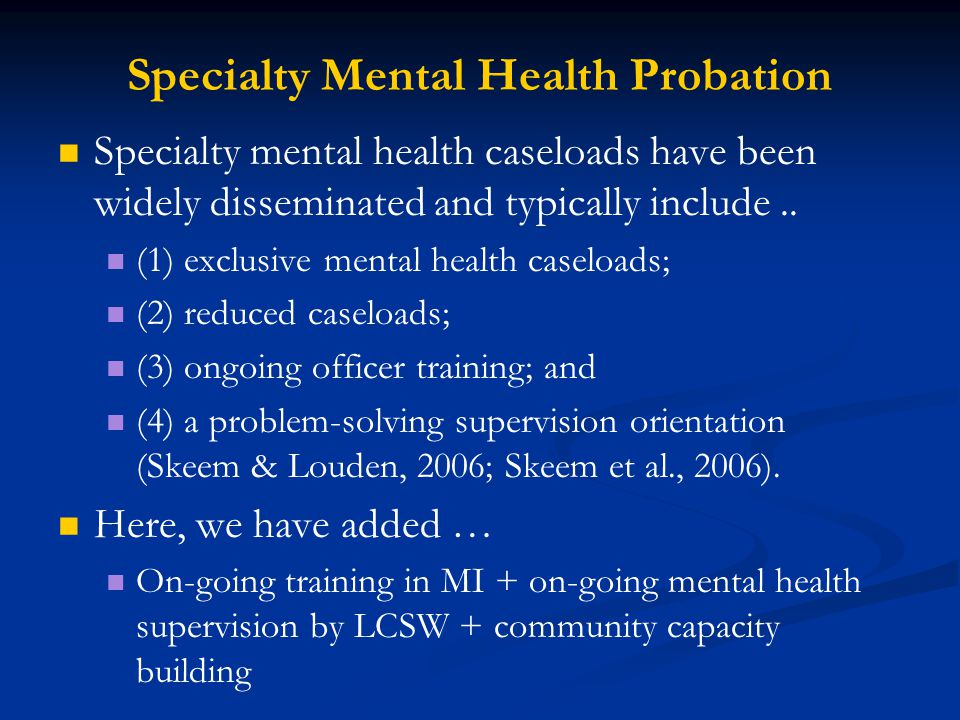 Specialty Mental Health Probation