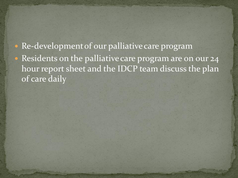 Re-development of our palliative care program