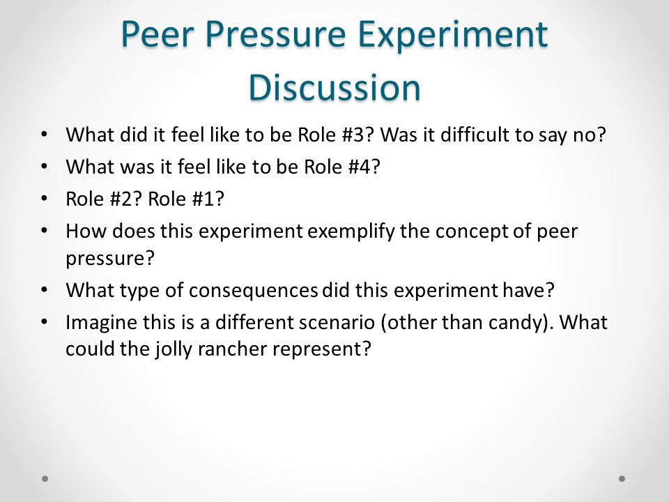 research experiment on peer pressure and selfishness More recently, an entirely separate body of experimental work has begun to  investigate  and shed light on the nature of human cognition and social  decision making  i wouldn't mind seeing some research done upon the back of  my  require multi-generational, environment pressure to change- maybe.