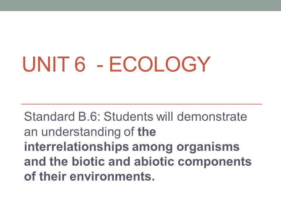 Unit 6 - Ecology
