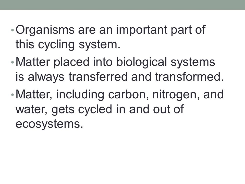 Organisms are an important part of this cycling system.