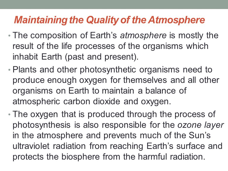 Maintaining the Quality of the Atmosphere