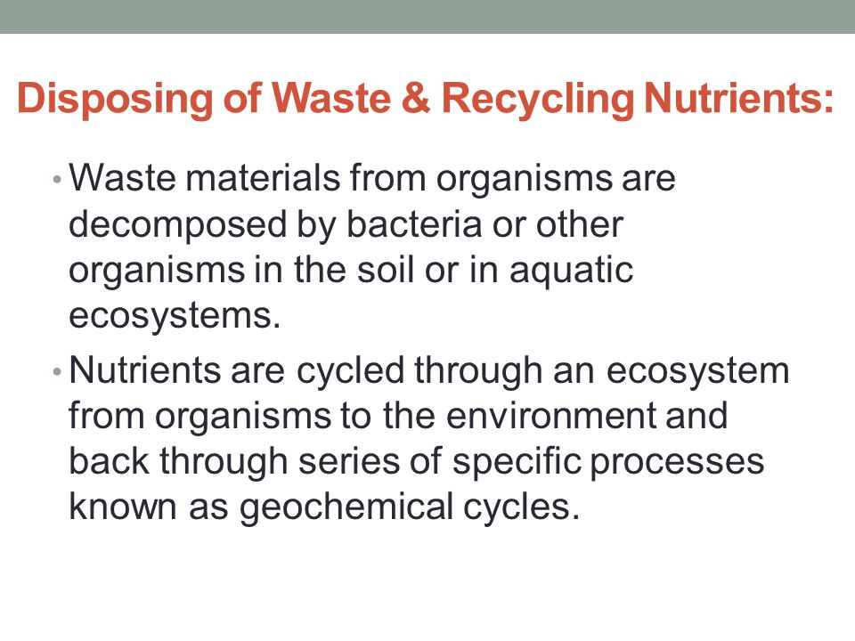 Disposing of Waste & Recycling Nutrients:
