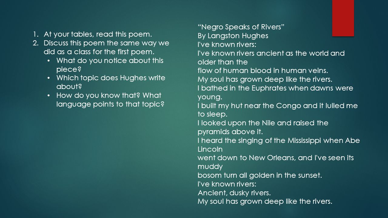 Negro Speaks of Rivers By Langston Hughes