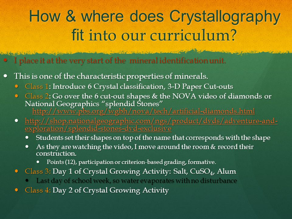 How & where does Crystallography fit into our curriculum