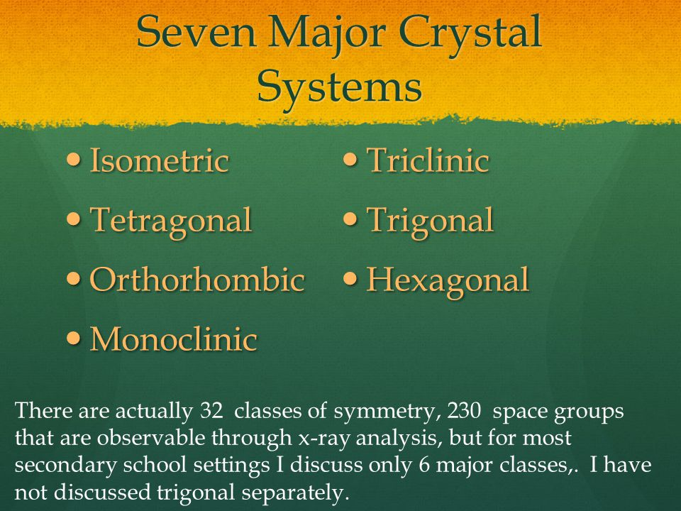 Seven Major Crystal Systems