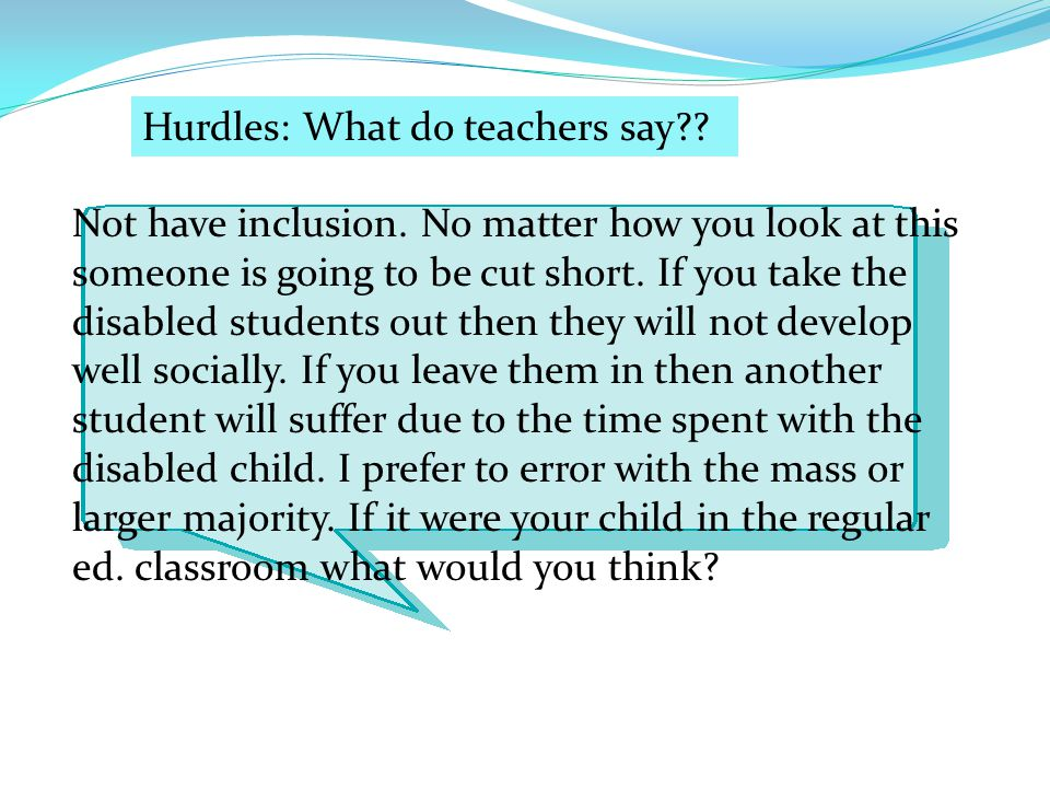 Hurdles: What do teachers say
