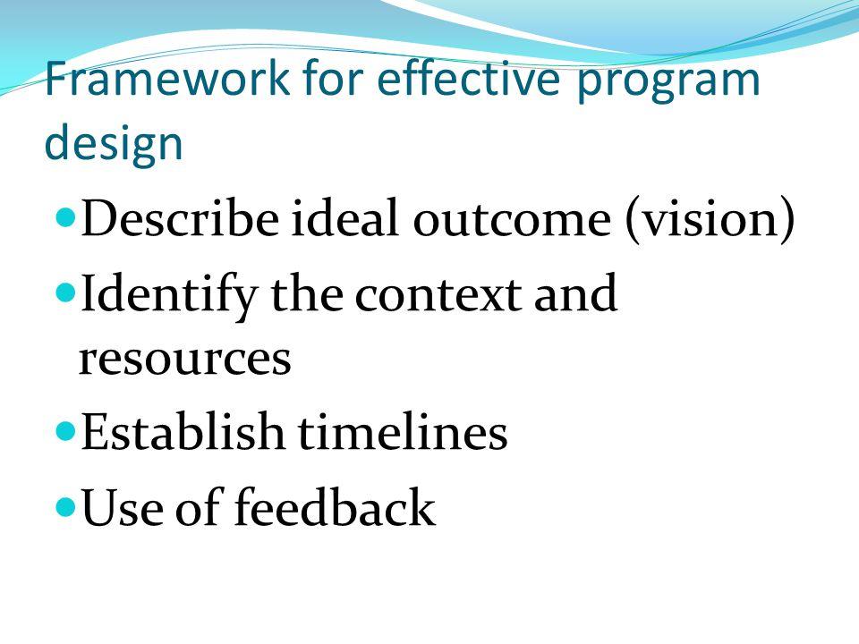 Framework for effective program design