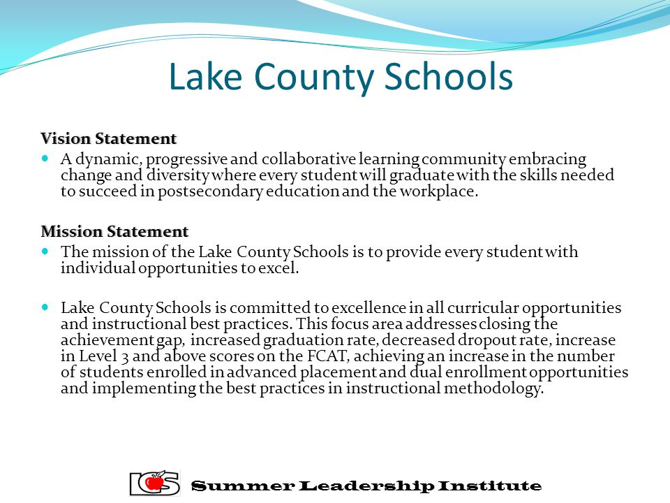 Lake County Schools Vision Statement