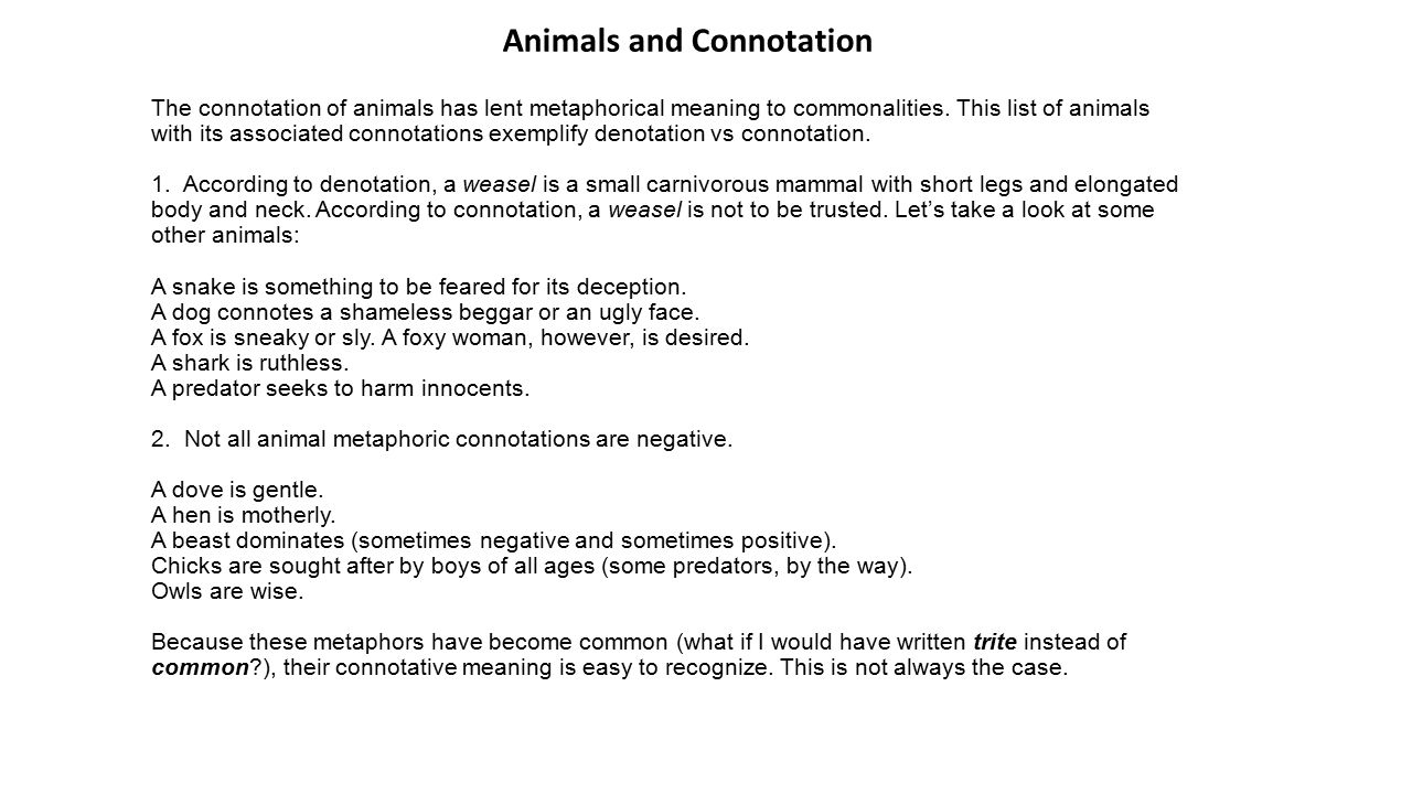 Uncategorized Denotation And Connotation Worksheet denotation vs connotation lesson plan ppt download animals and 3 plan