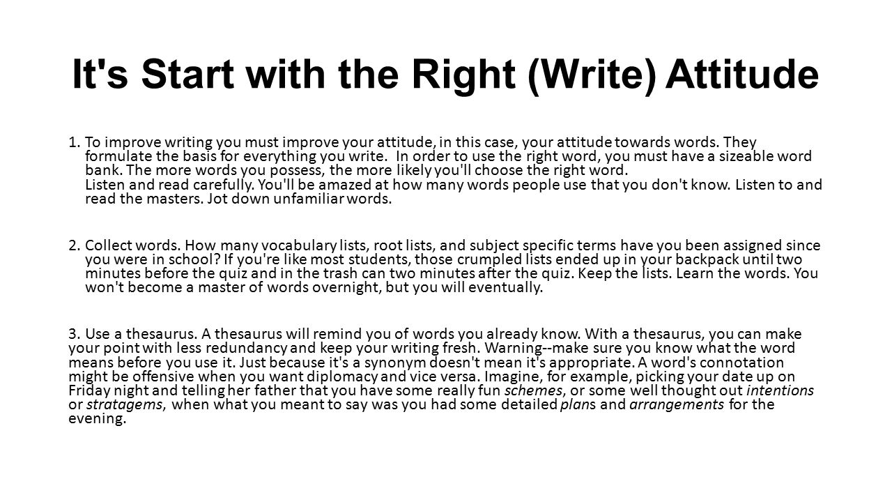 It s Start with the Right (Write) Attitude