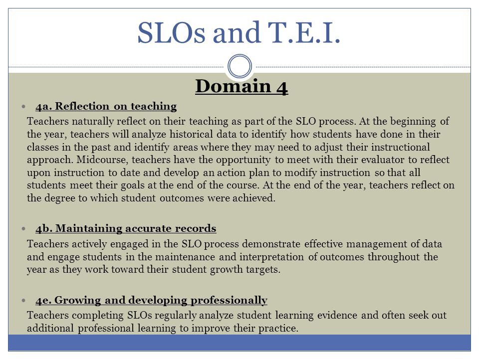 SLOs and T.E.I. Domain 4 4a. Reflection on teaching