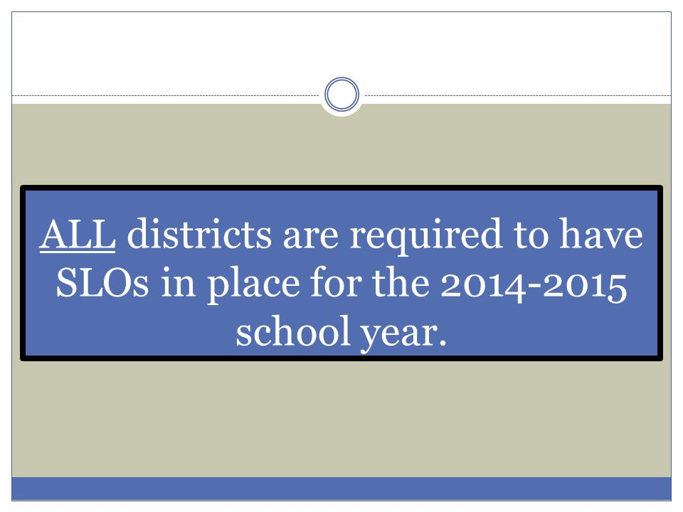 ALL districts are required to have SLOs in place for the 2014-2015 school year.