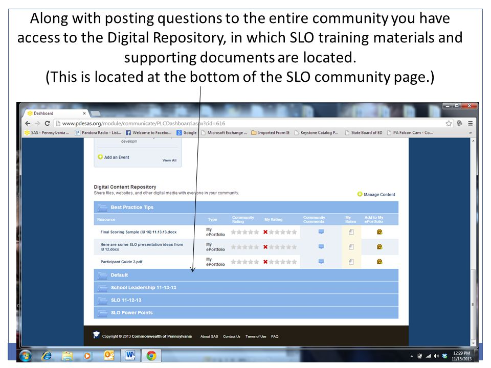 (This is located at the bottom of the SLO community page.)