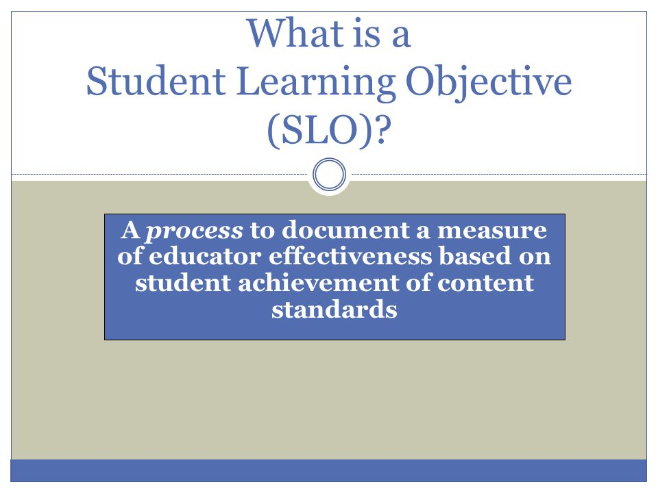 What is a Student Learning Objective (SLO)