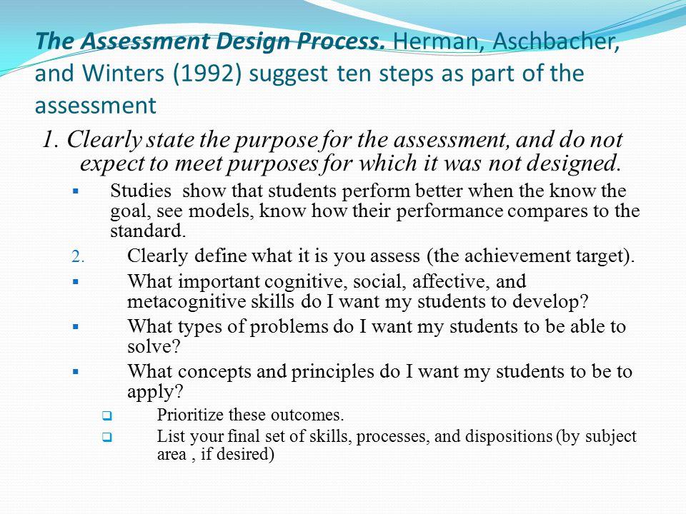 The Assessment Design Process