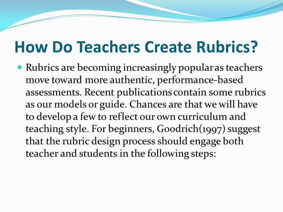How Do Teachers Create Rubrics