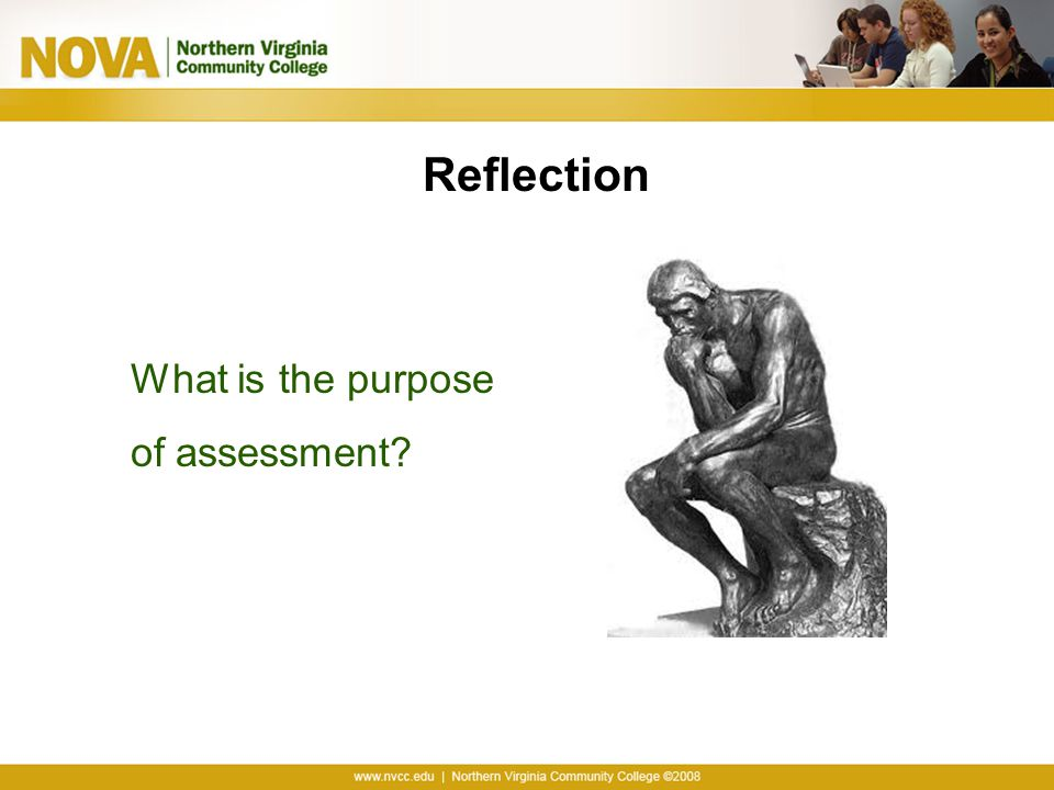 Reflection What is the purpose of assessment