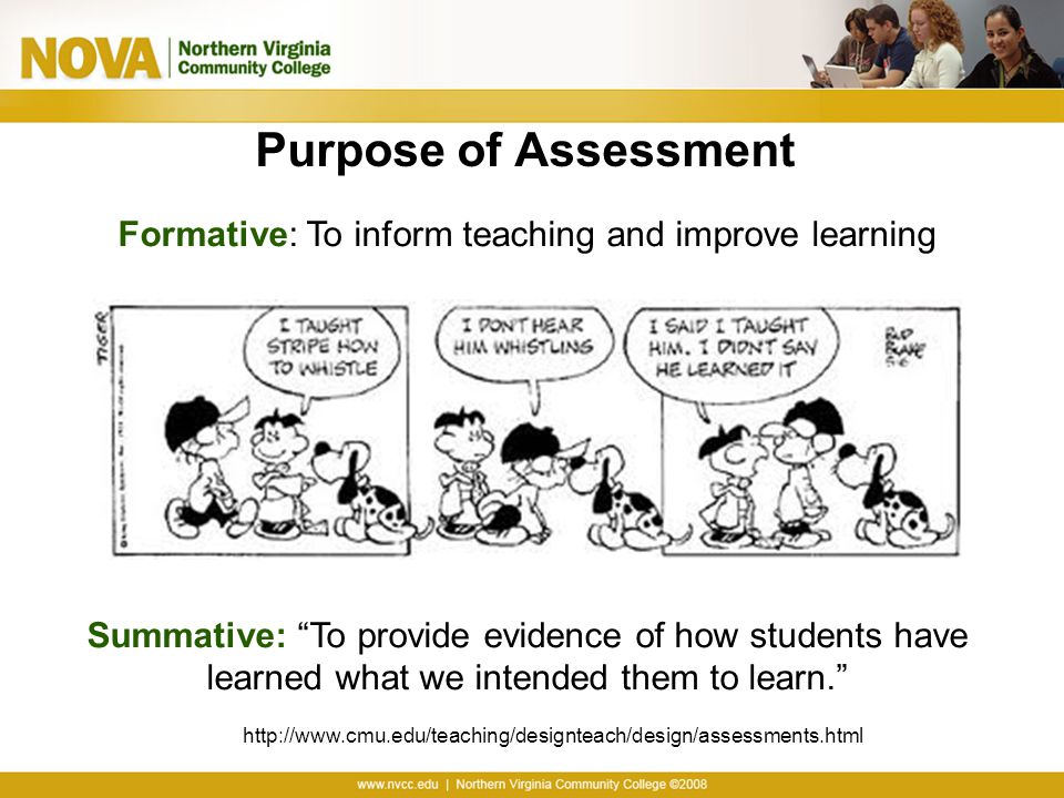 Formative: To inform teaching and improve learning