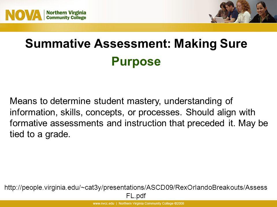 Summative Assessment: Making Sure Purpose