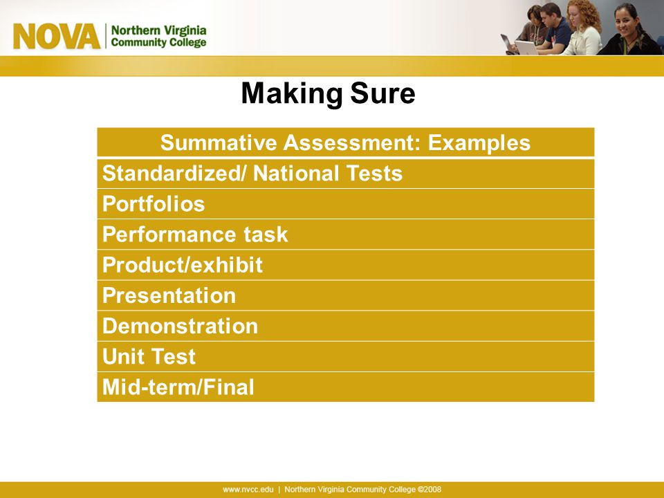 Summative Assessment: Examples