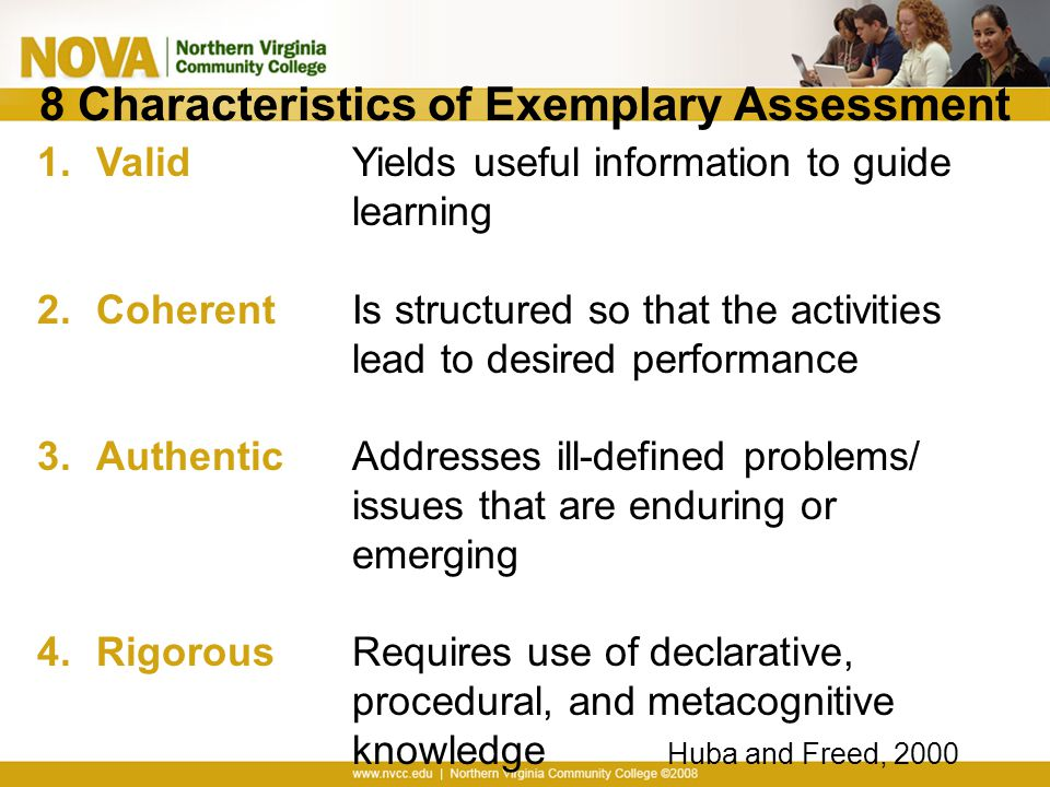 8 Characteristics of Exemplary Assessment