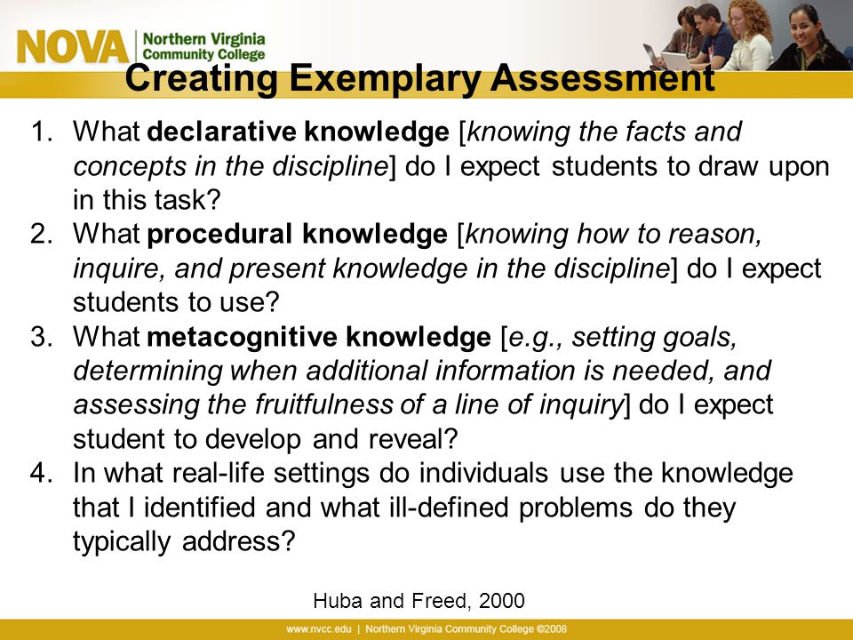 Creating Exemplary Assessment