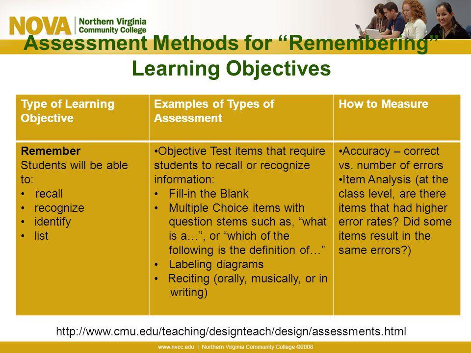 Assessment Methods for Remembering Learning Objectives