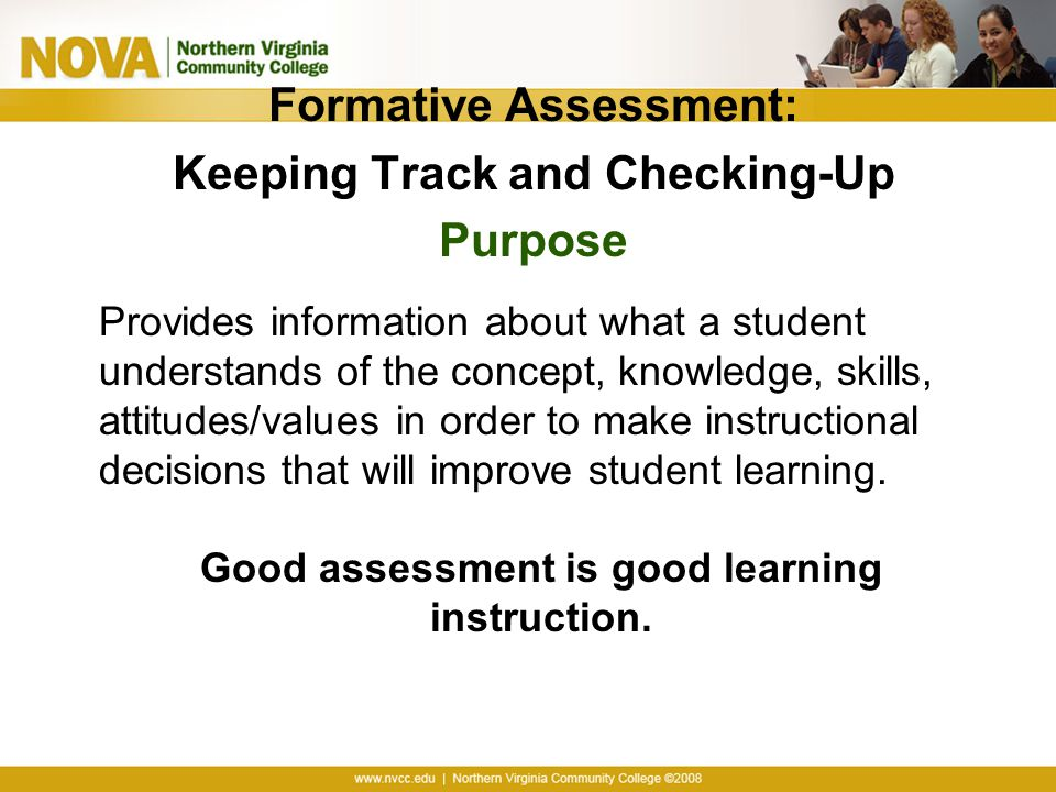 Formative Assessment: Keeping Track and Checking-Up Purpose
